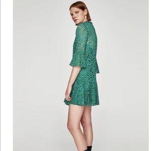 Zara elegant green lace dress